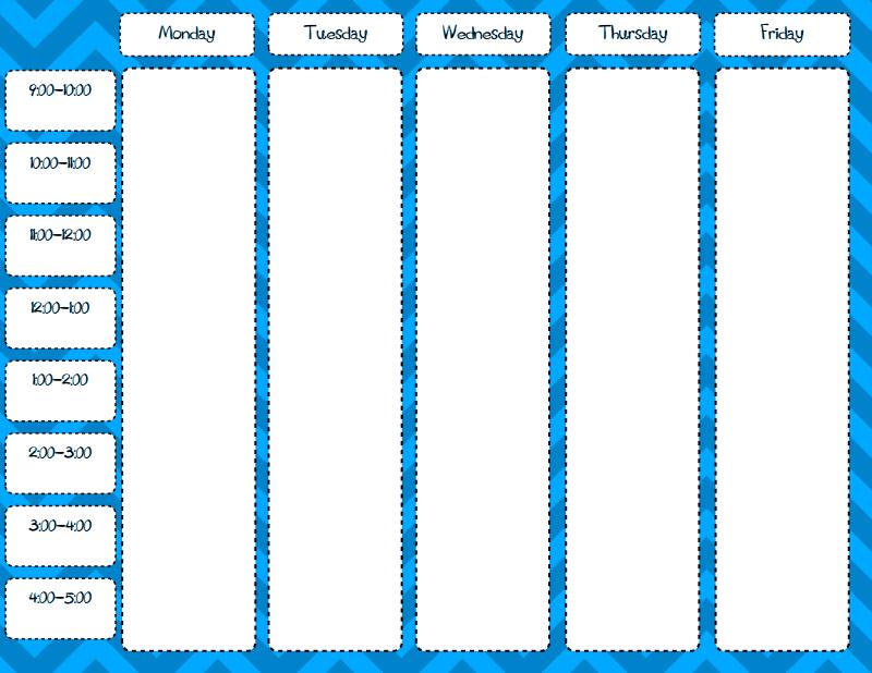 Weekly Schedule Blank Free Printable Pdf | Weekly Schedule School Time Schedule Exercise Fill Blanks