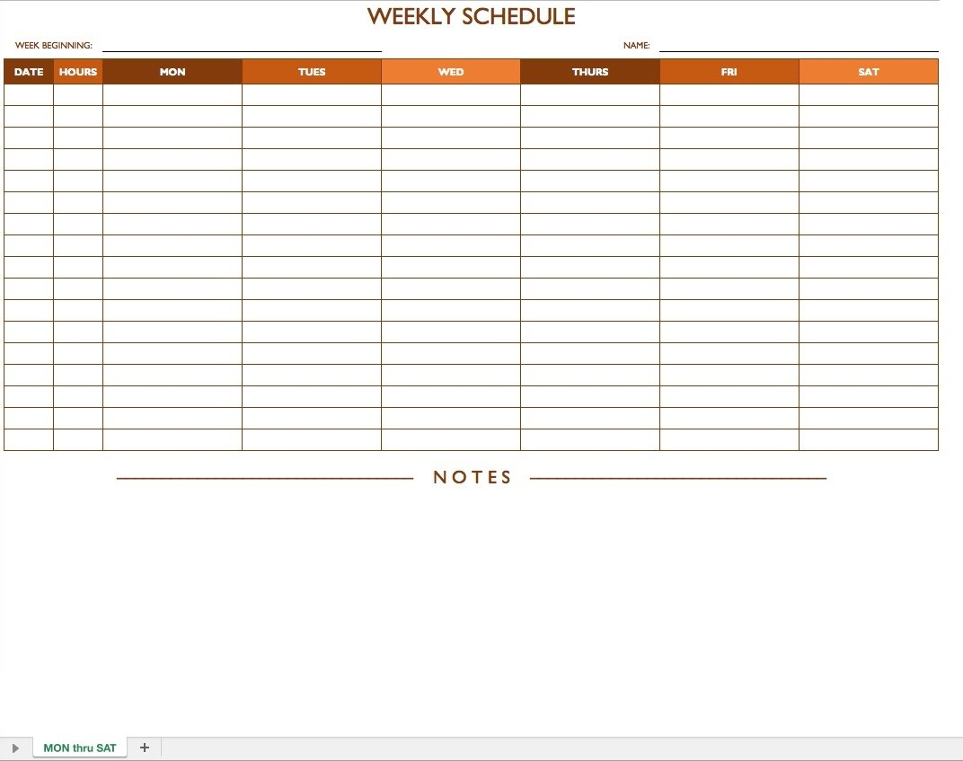Weekly Schedule Monday – Sunday – Template Calendar Design Weekly Schedule Monday To Sunday