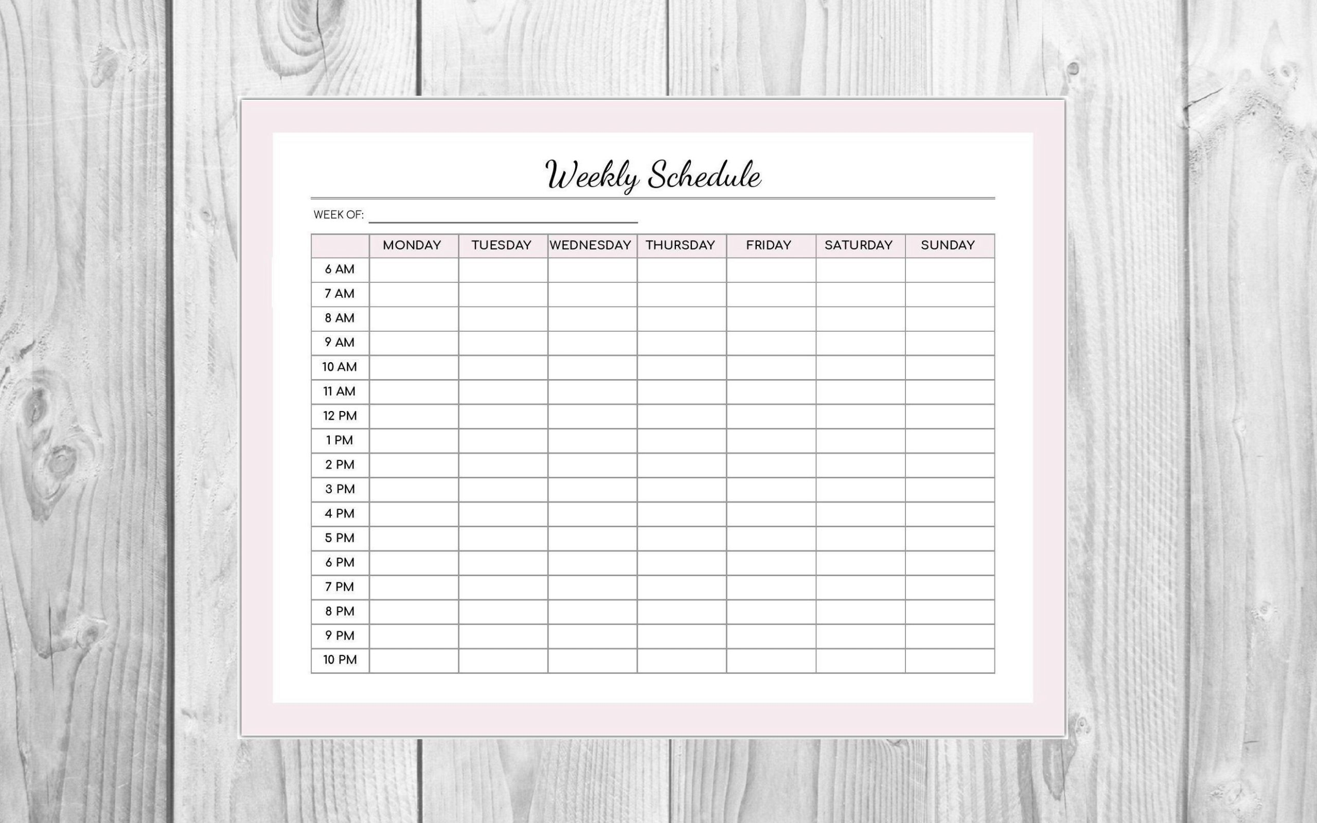 Weekly Schedule Pink Editable Pdf  Hourly Schedule Monday Friday Schedule Download