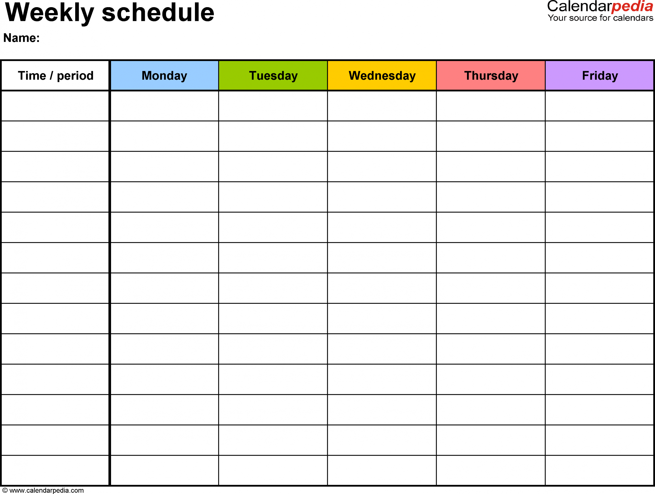 Weekly Schedule Template For Pdf Version 1: Landscape, 1 One Week Calendar To Type In