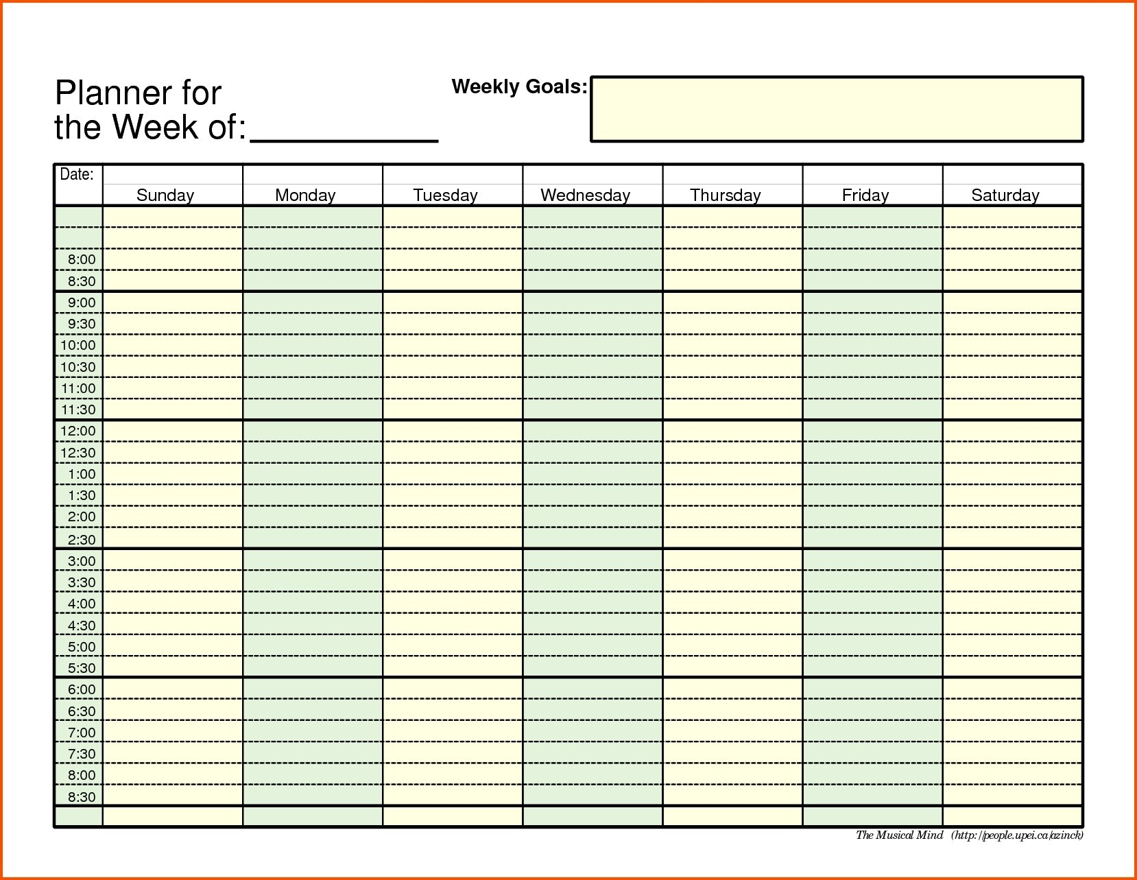 Weekly Schedule With Time Slots – Calendar Inspiration Design Free Weekly Planner With Time Slots