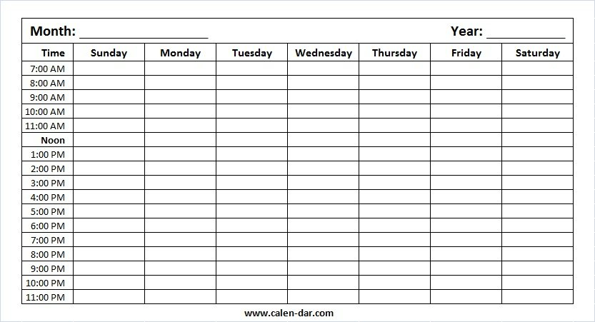 Weekly Schedule With Time Slots Pdf – Calendar Template 2020 Week Day Calendar With Hour Slots