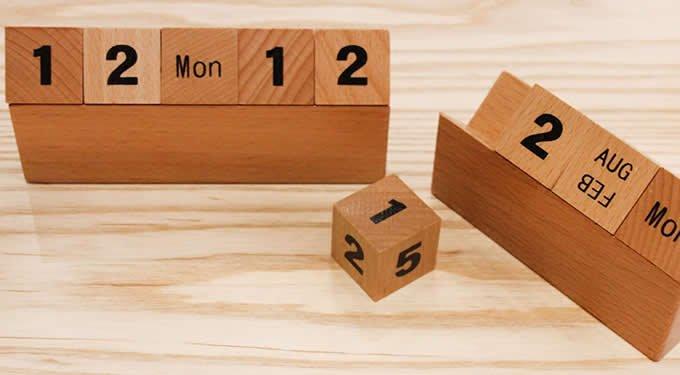 Wooden Cubes Perpetual Calendar – Feelgift 3 Month Wooden Calendar Frame