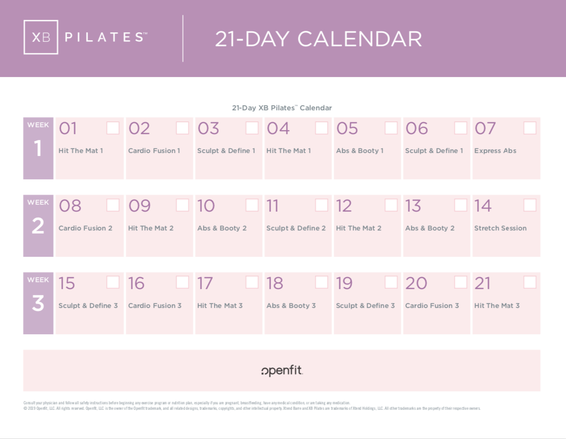 Xb Pilates Program Calendars To Keep You On Track   Openfit 21 Day Calendar Template