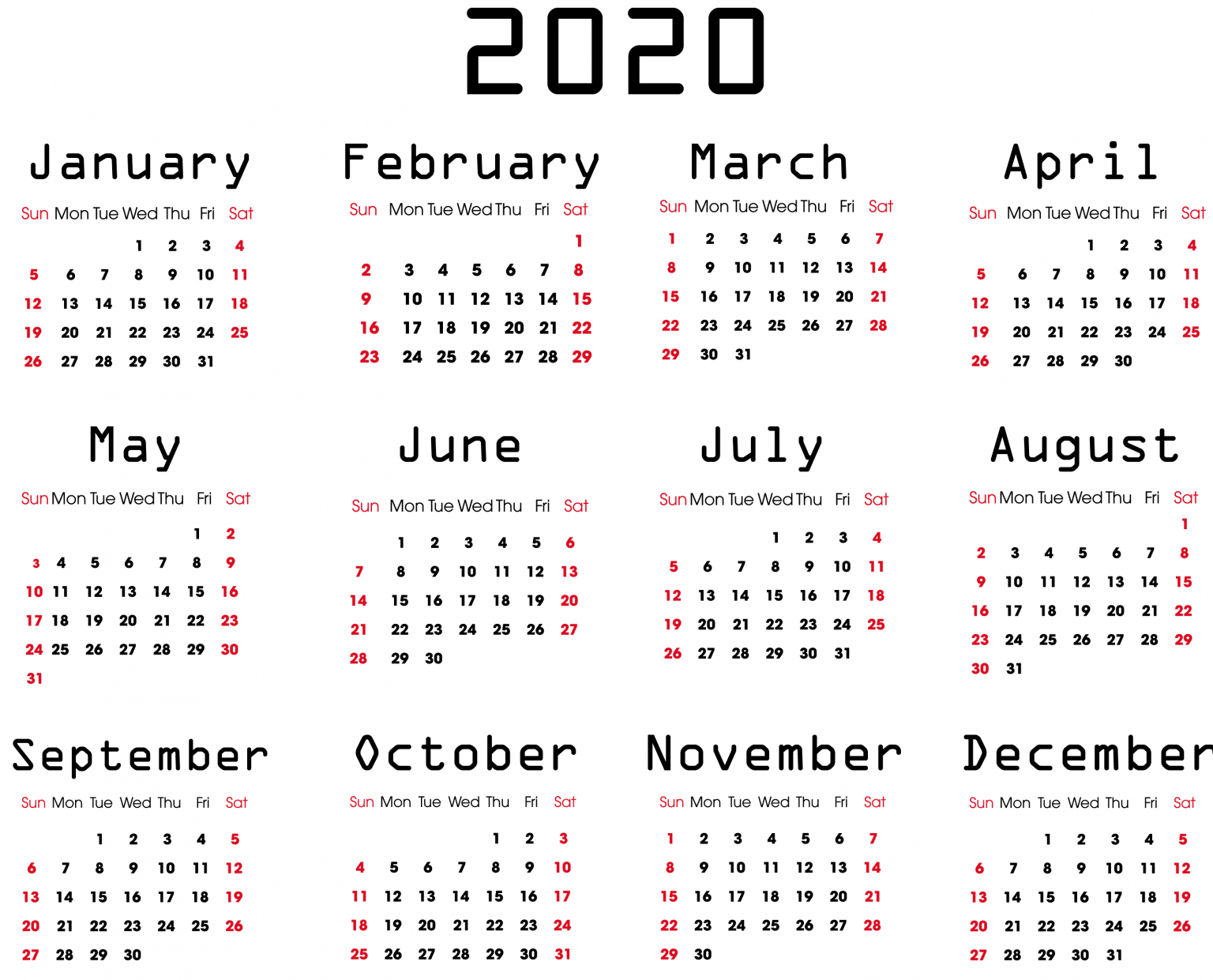 Yearly 2020 Calendar – Free 12 Month 2020 Calendar Printable Free Weekly Calendar Fillable With Times Starting At 6Am