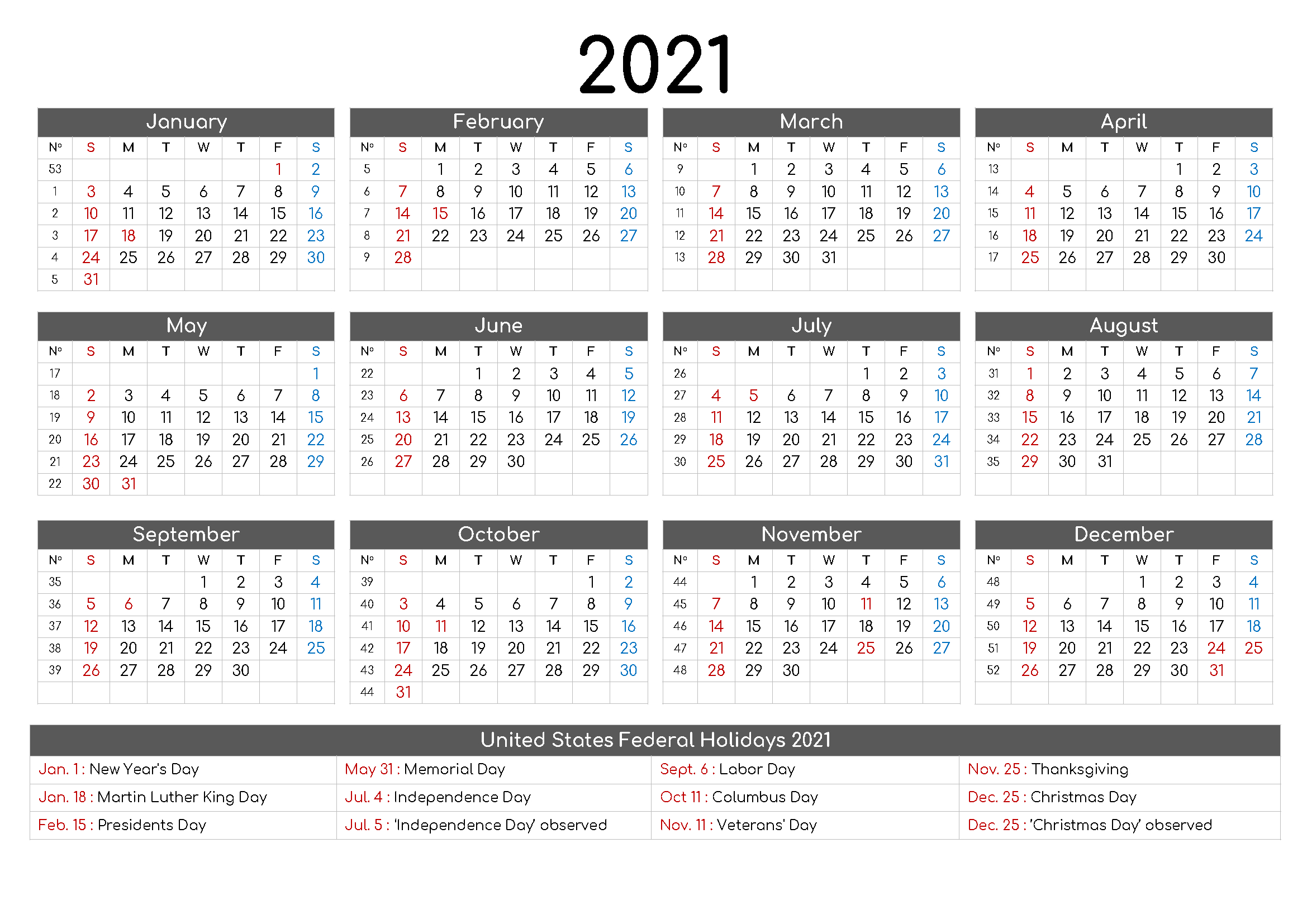 Yearly 2021 Printable Calendar Template – Pdf, Word, Excel Printable And Editable 12 Month Calendars