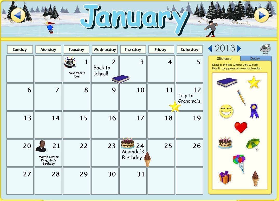 You Can Now Customize The Calendars On Abcmouse! You Calendar You Can Edit